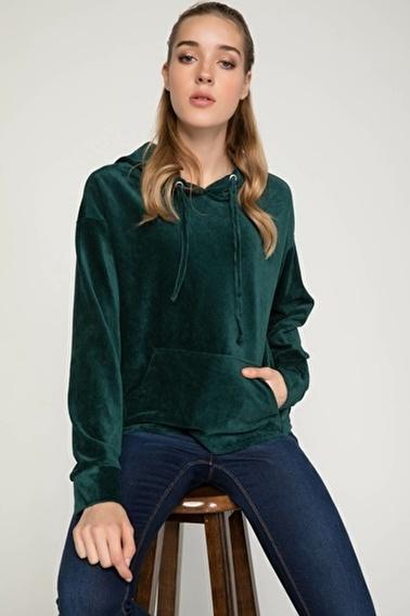 DeFacto Kapüşonlu Kanguru Cepli Sweatshirt Yeşil